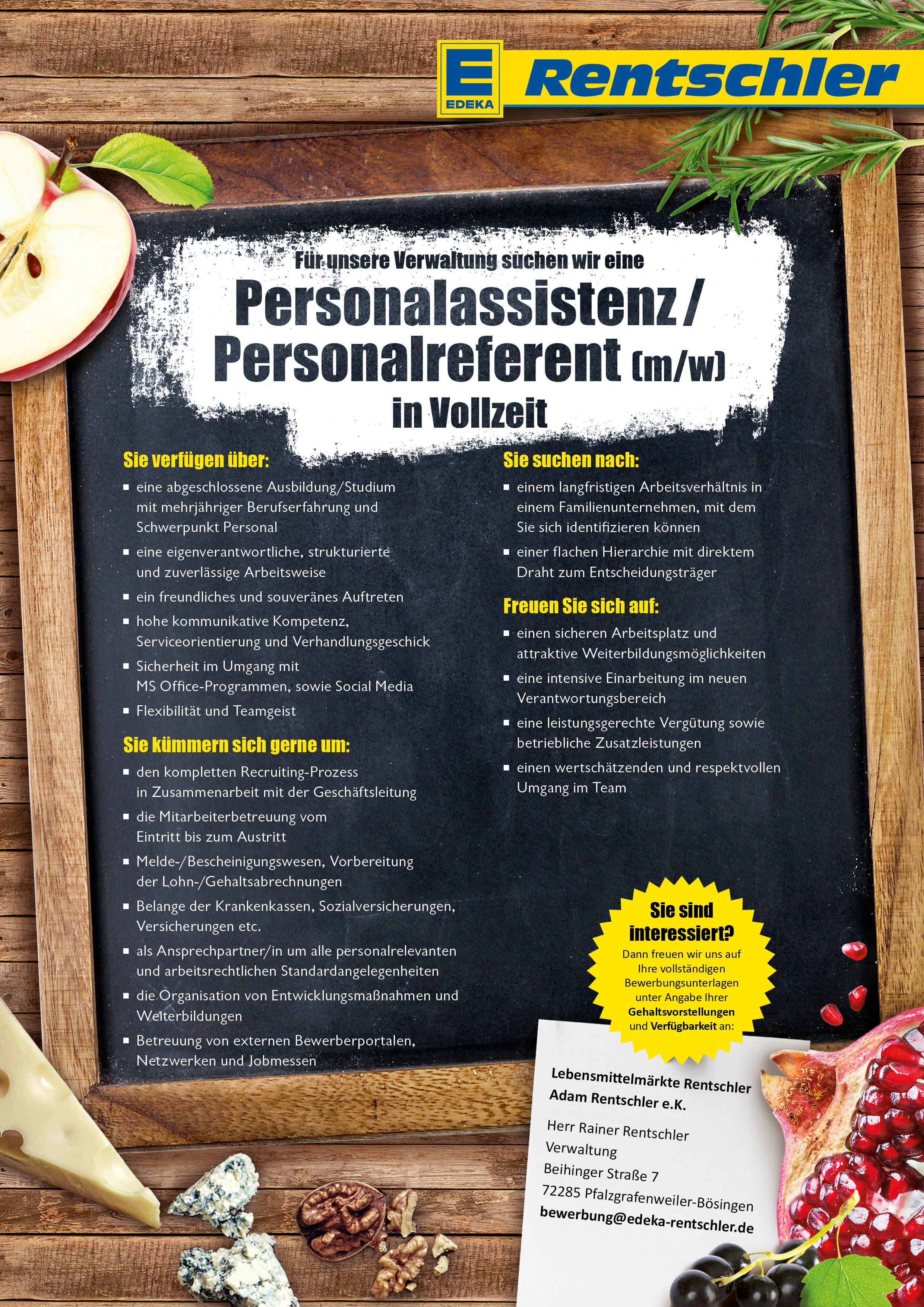 personalassistenz personalreferent mw fr verwaltung in bsingen - Bewerbung Edeka